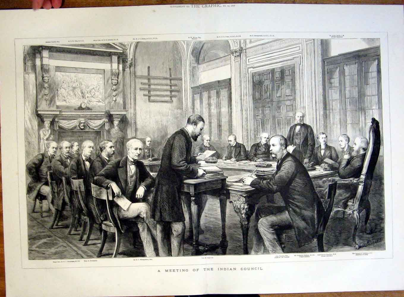 Print Meeting The Indian Council 1876 11Tbbb0 Old Original