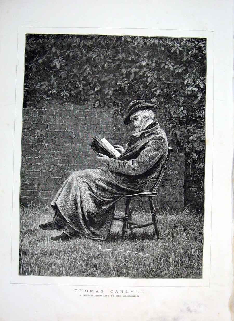 Print Thomas Carlyle 1876 Large Portrait 21Bbb0 Old Original