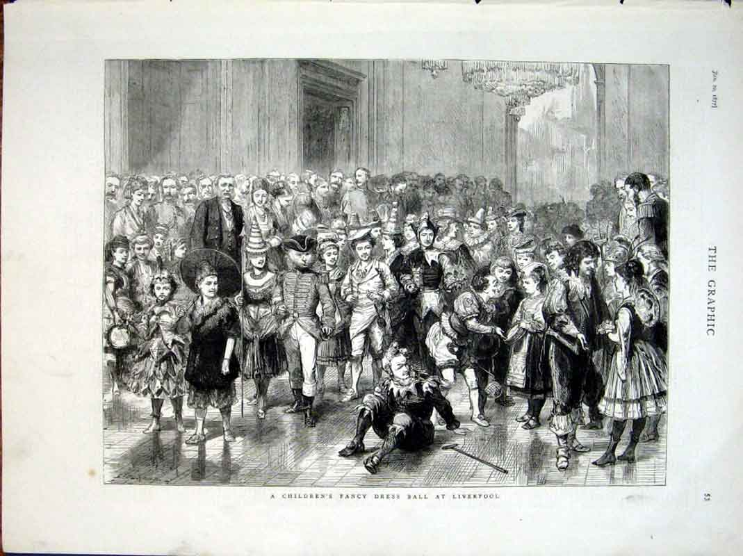 Print Childrens Fancy Dress Ball Liverpool 1877 53Bbb0 Old Original