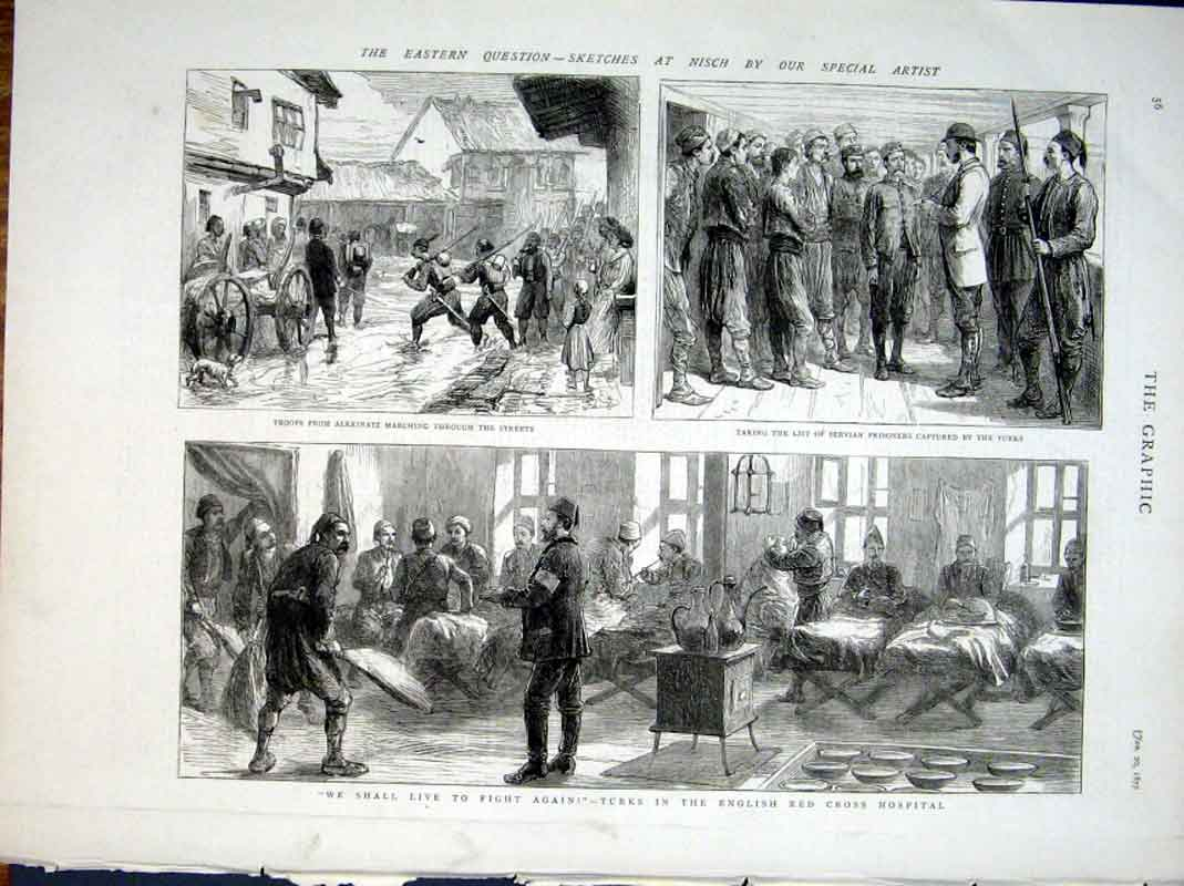 Print Turks In English Red Cross Hospital 1877 56Bbb0 Old Original