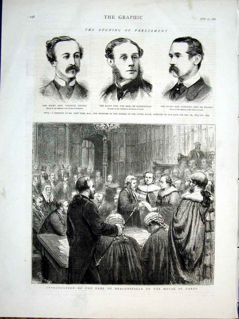 Print Introduction Earl Beaconsfield To House Lords 1877 48Bbb0 Old Original