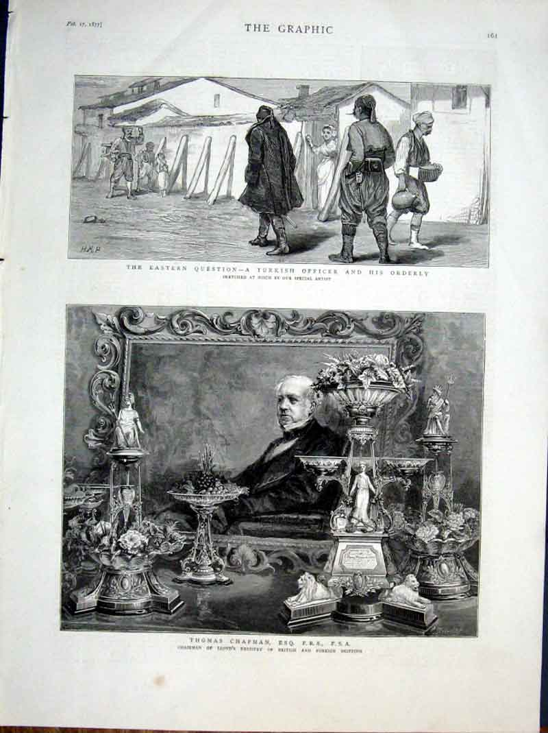 Print Turkish Officer Thomas Chapman 1877 61Bbb0 Old Original
