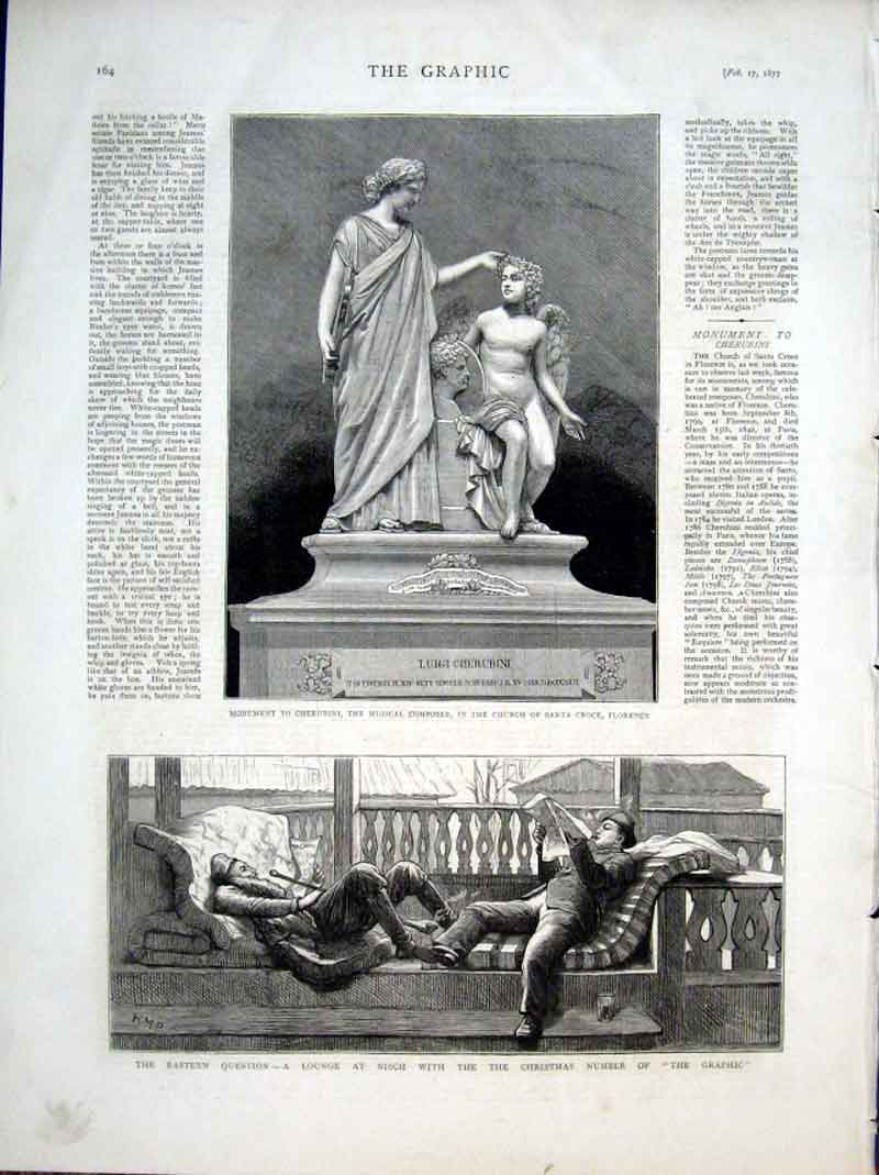 Print Monument To Cherubini Musical Composer Florence 1877 64Bbb0 Old Original