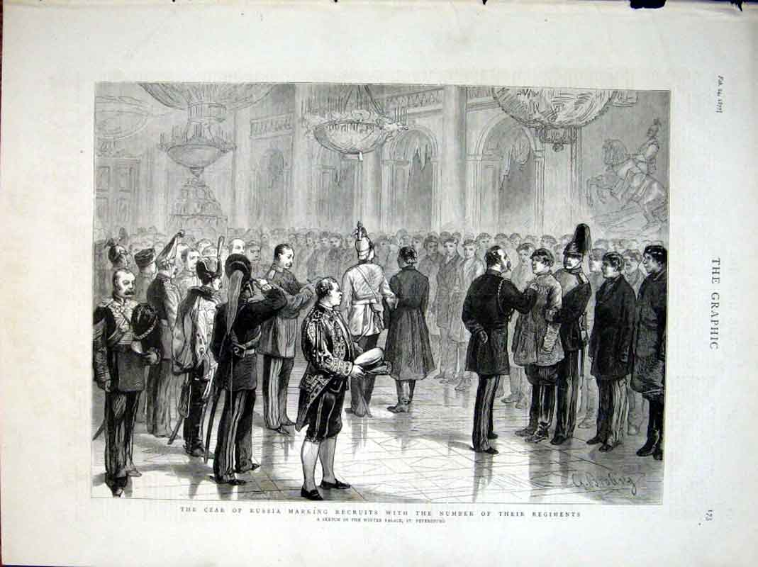Print Czar Russia Marks Recruits With Regiment Number 1877 73Bbb0 Old Original