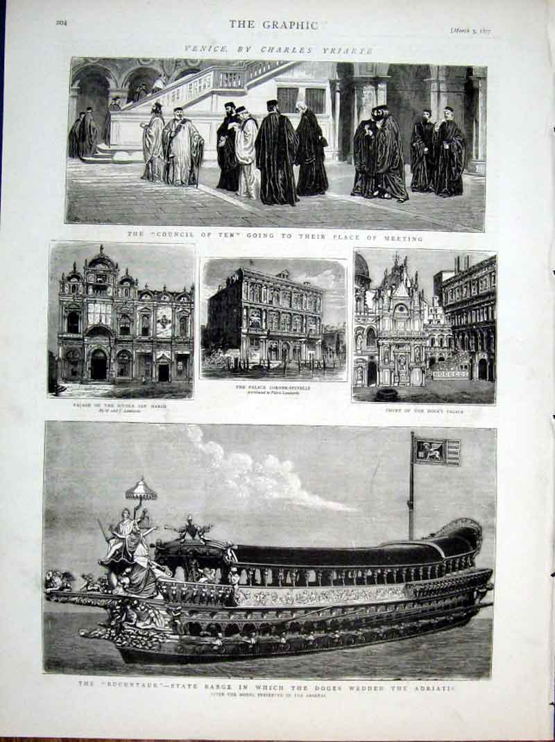 Print Venice 1877 State Barge Wedded Adriatic 04Bbb0 Old Original