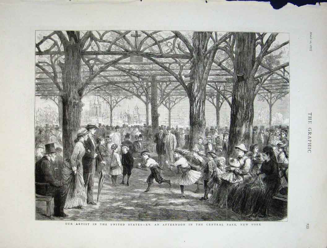 Print Central Park New York 1877 United States 33Bbb0 Old Original