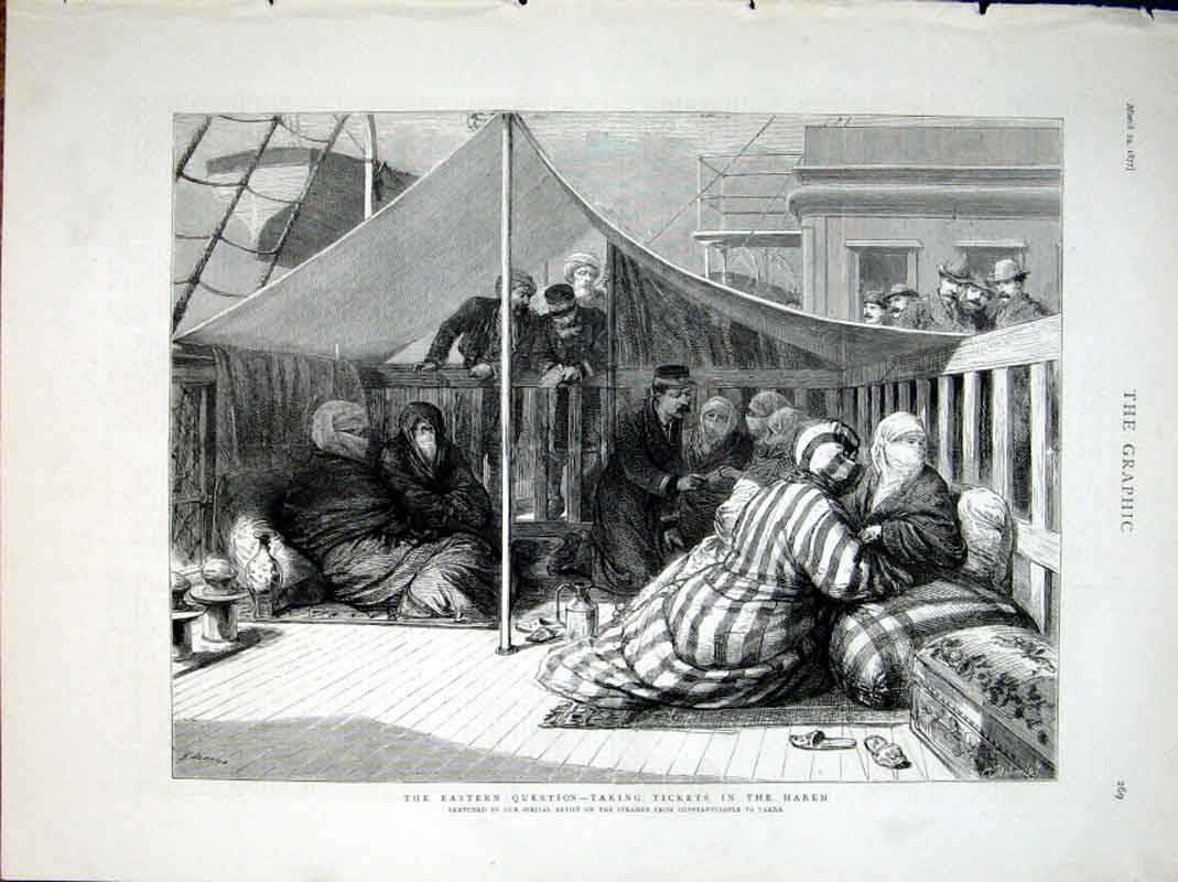 Print Taking Tickets In The Harem 1877 69Bbb0 Old Original
