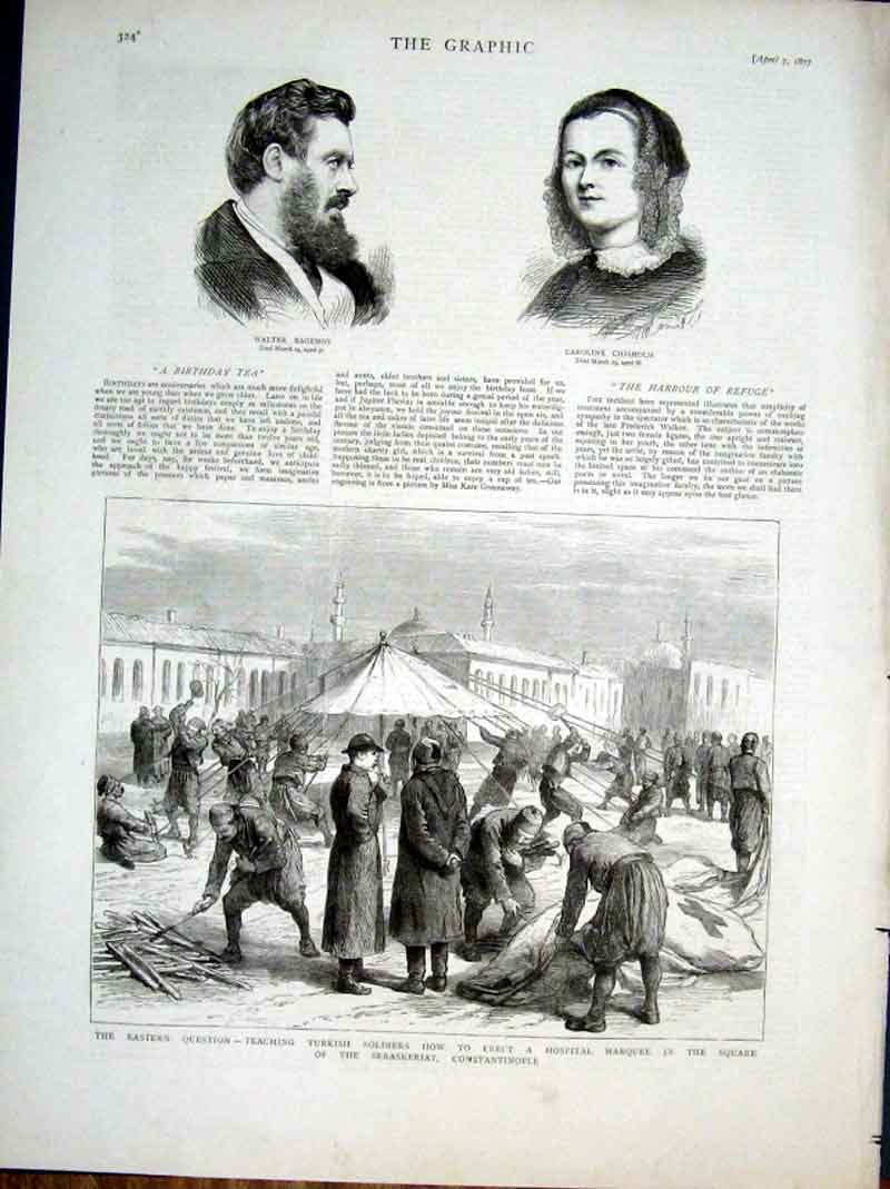 Print Turkish Soldiers Erect Hospital Marquee Constantinople 24Bbb0 Old Original