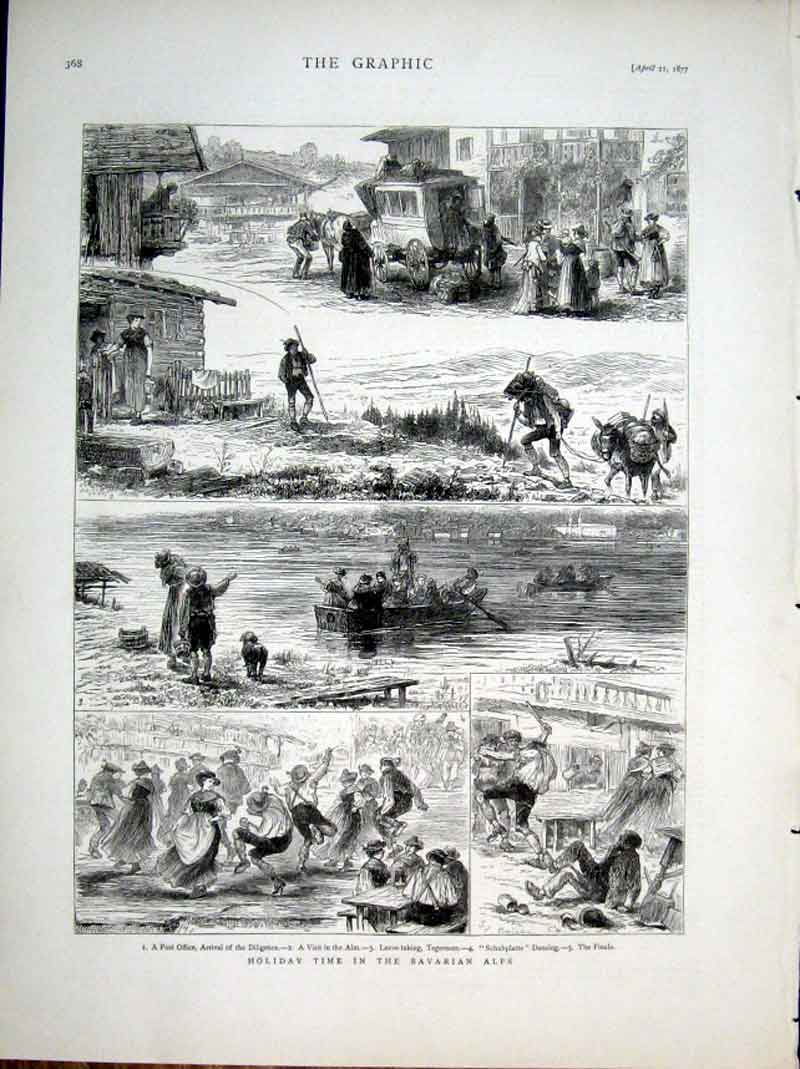 Print Holiday Time Bavarian Alps 1877 68Bbb0 Old Original