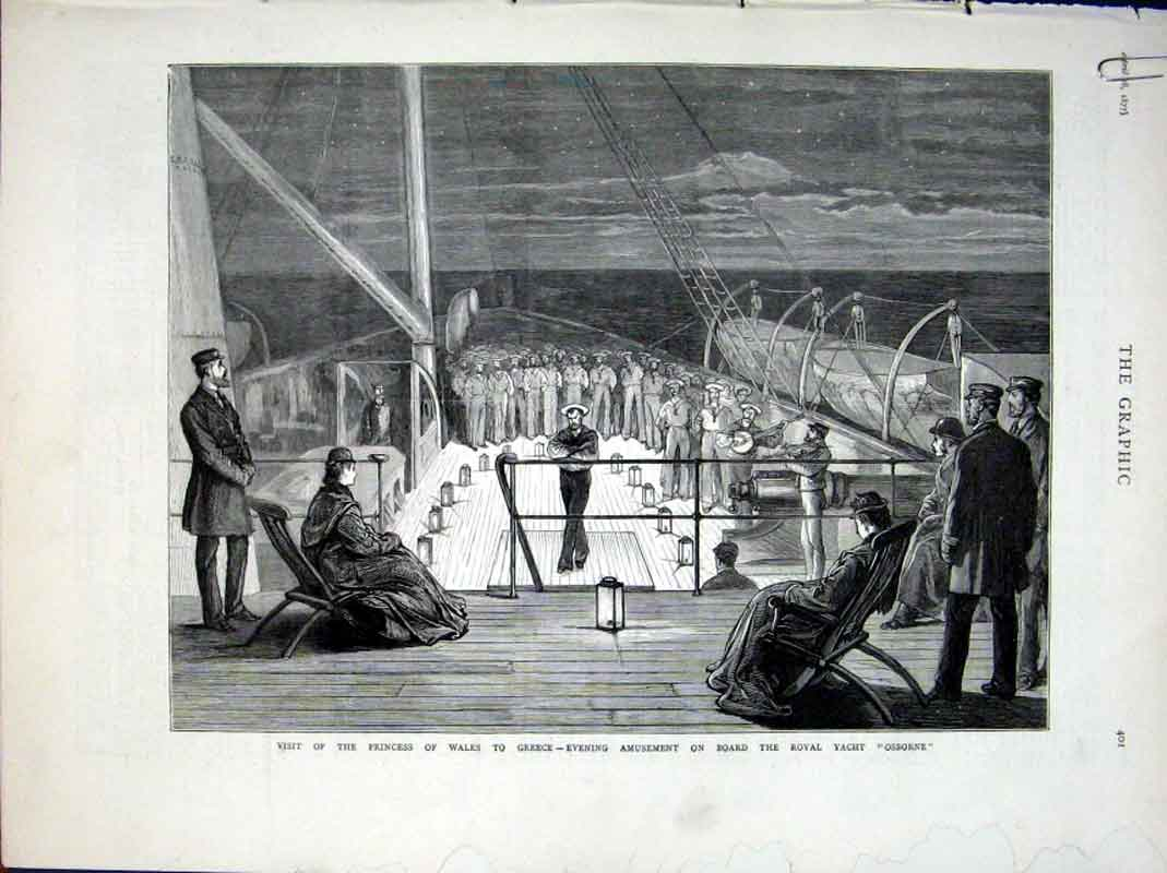 Print Princess Wales On Royal Yacht Osborne Visits Greece 187 01Abbb0 Old Original