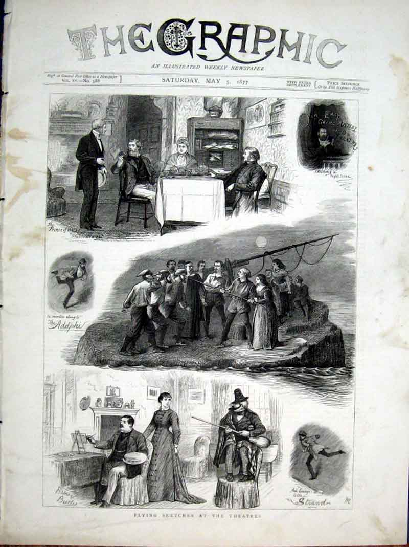 Print Flying Sketches At The Theatre 1877 Londo 06Bbb0 Old Original
