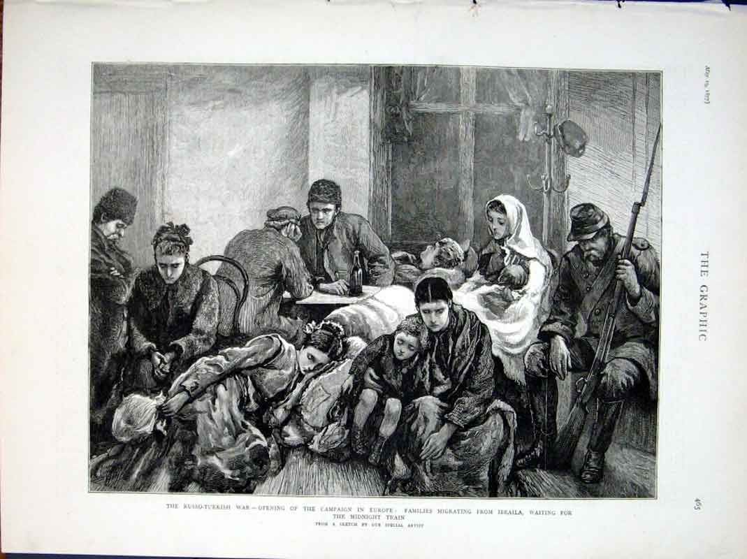 Print Families Migrating From Ibraila Waitin For Train 1877 65Bbb0 Old Original