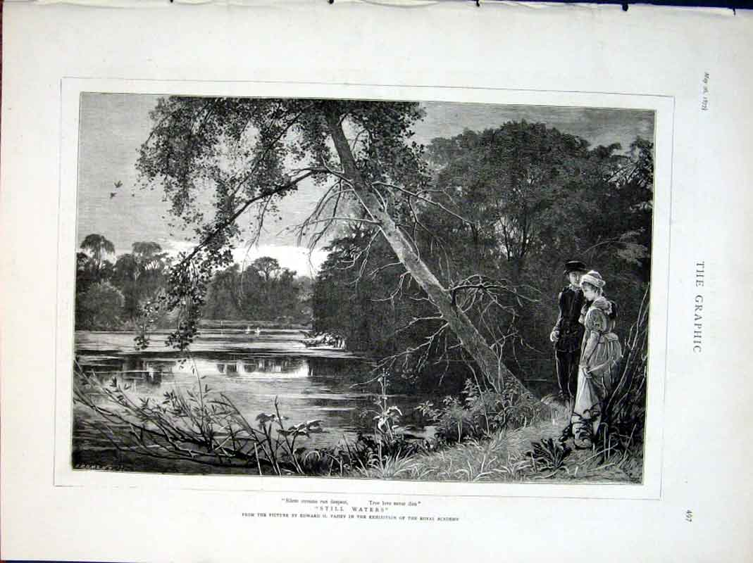 Print Still Waters Fine Art By Fahey 1877 97Bbb0 Old Original