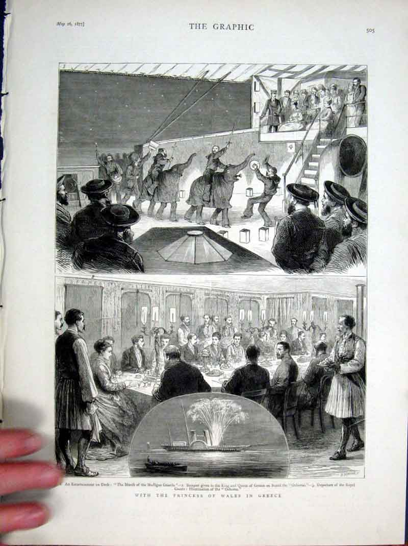 Print With Princess Wales In Greece 1877 05Bbb0 Old Original