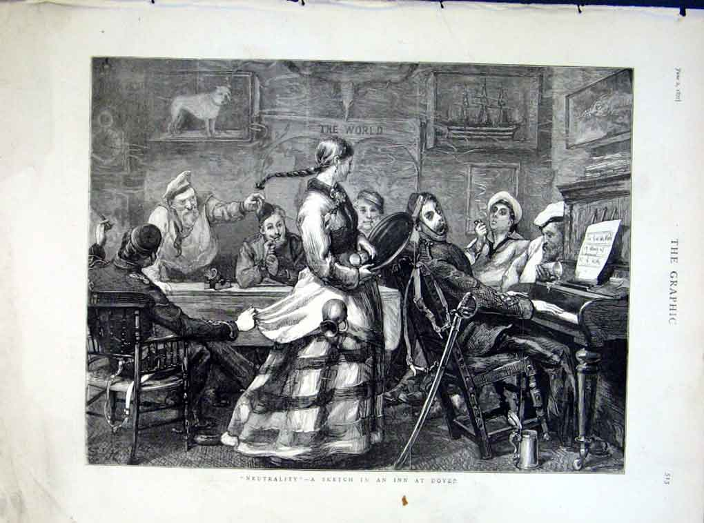 Print Neutrality In An Inn At Dover 1877 13Bbb0 Old Original