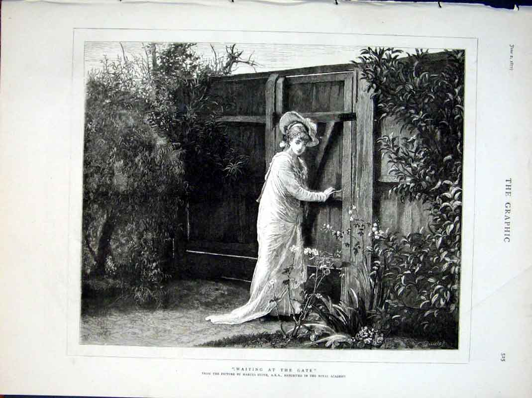 Print Fine Art By Stone Waiting At The Gate 1877 25Bbb0 Old Original