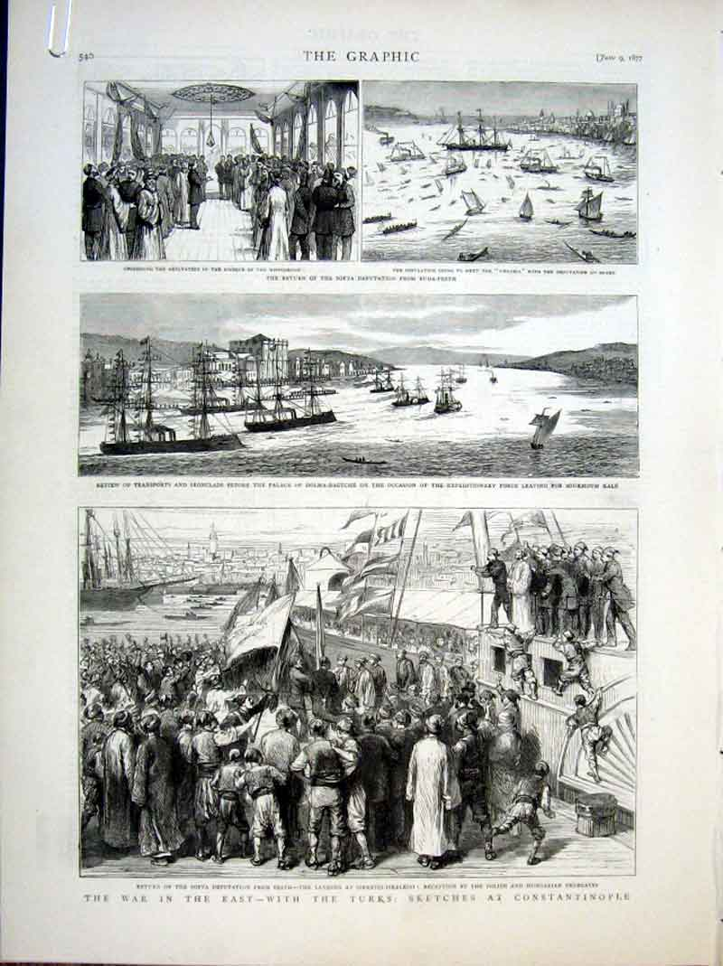 Print War In East With Turks At Constantinople 1877 40Abbb0 Old Original