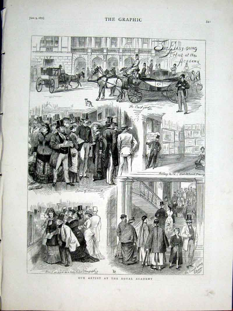 Print An Artist At The Royal Academy 1877 41Bbb0 Old Original