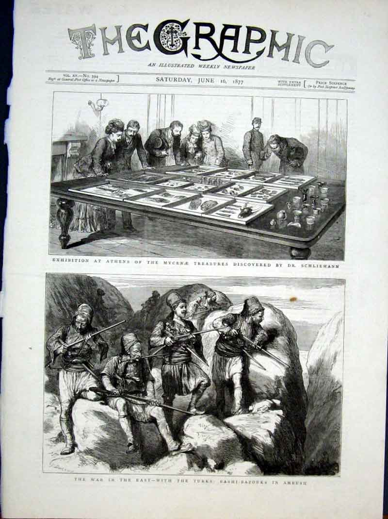 Print Mycenae Tresures Athens Bashi Bazouks In Ambush 1877 58Bbb0 Old Original