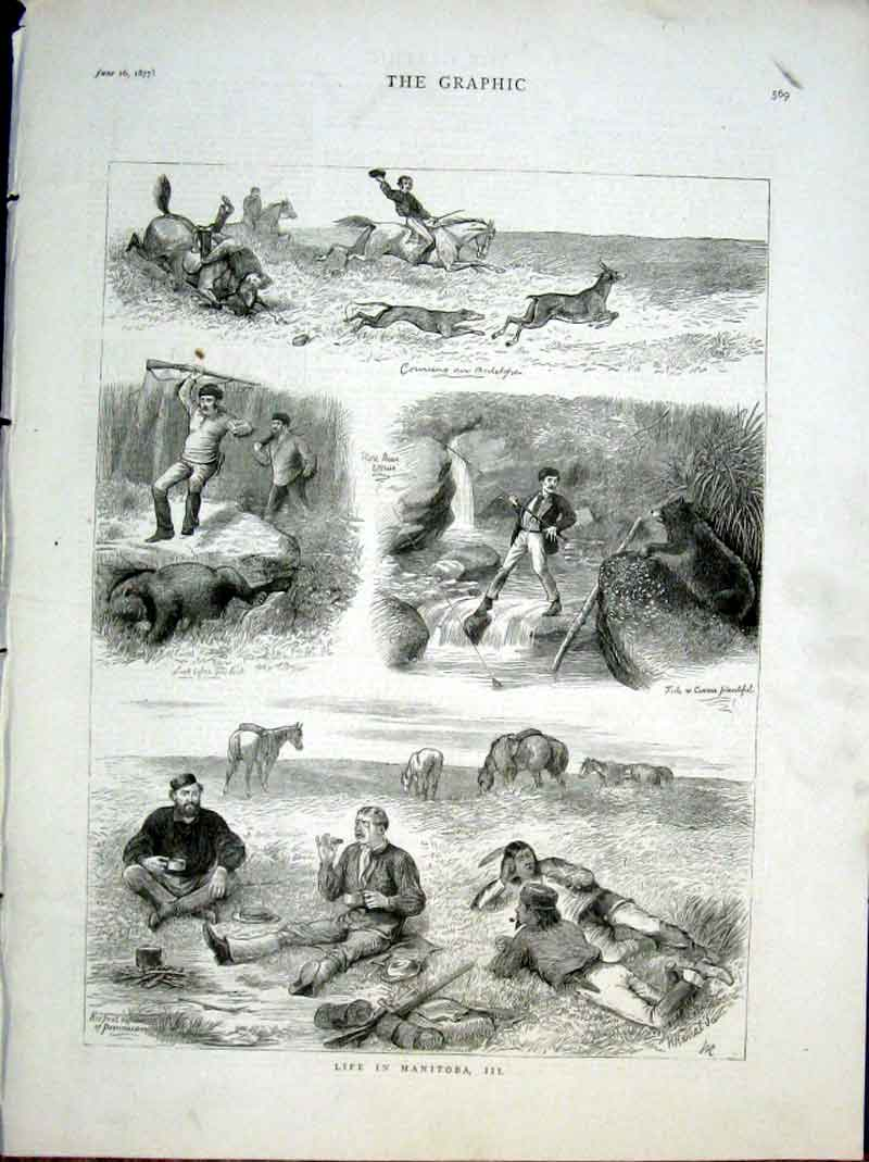 Print Sport & Life Manitoba British North America 1877 *3 69Bbb0 Old Original