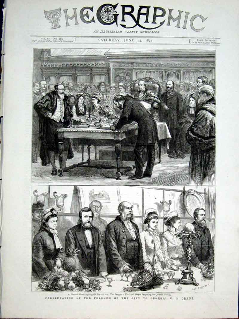 Print Freedom City London To General Grant 1877 82Bbb0 Old Original