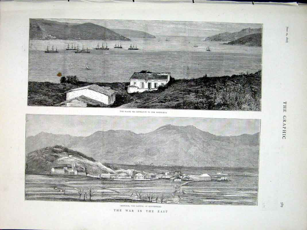 Print War N East 1877 Entrance Bosphorus Cettinge Montenegro 89Bbb0 Old Original