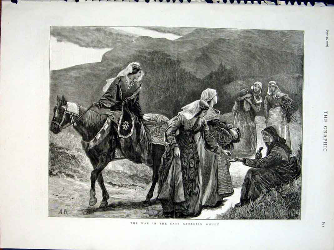 Print Georgian Women Flee War In East 1877 21Bbb0 Old Original
