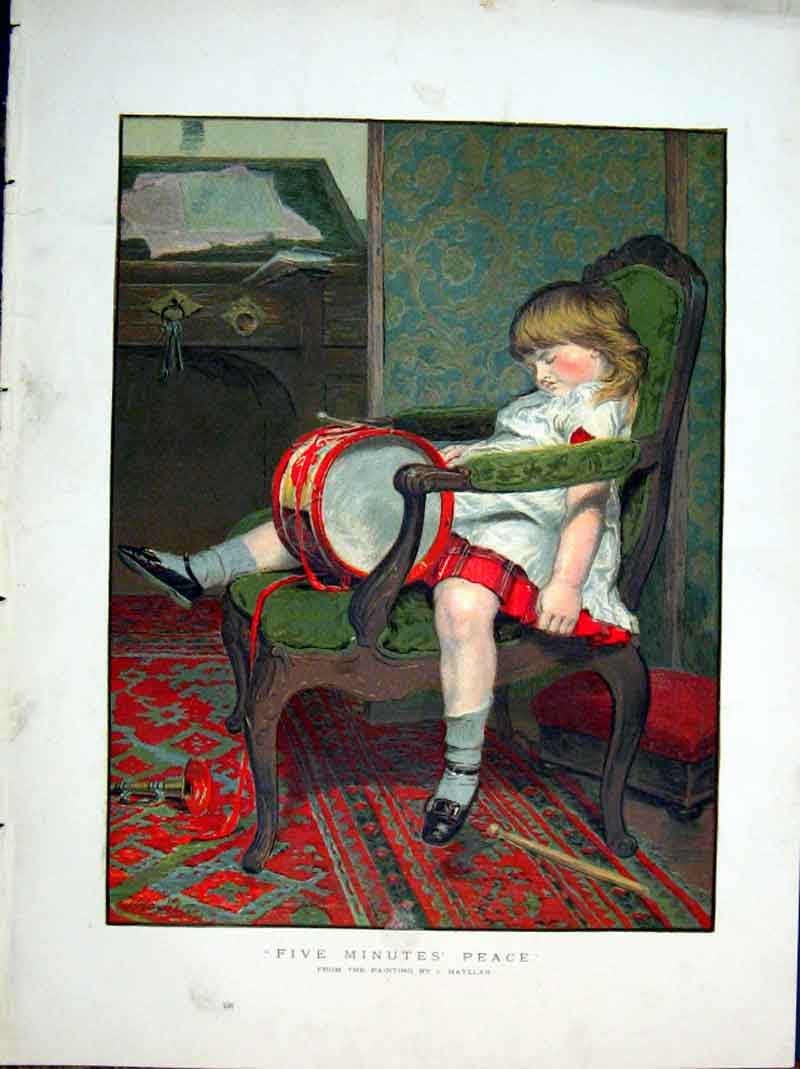Print A Girl Needs Five Minutes Peace 1877 Fine Art 20Bbb0 Old Original