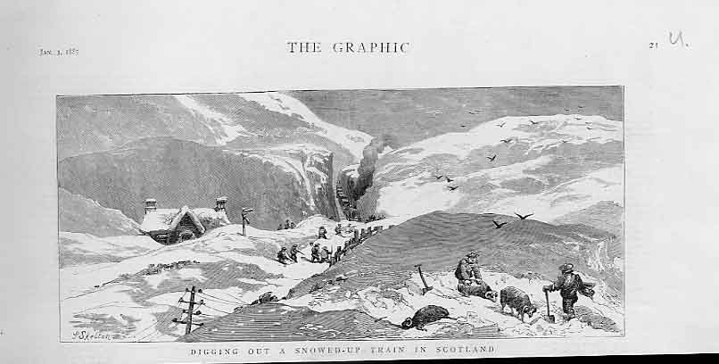 [Print Digging Out Snowed Up Train Scotland January 1885 21Ubbb0 Old Original]