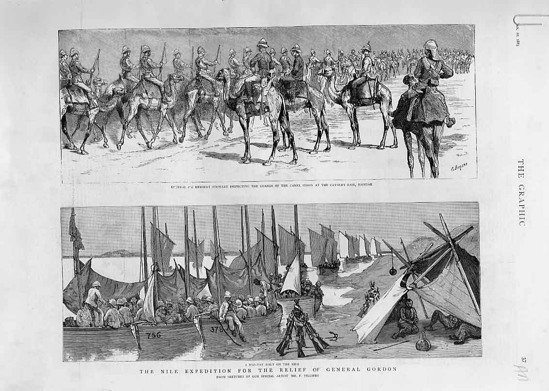 Print Camels & Boats Nile Expedition Sport On Nile 1885 81Abbb0 Old Original