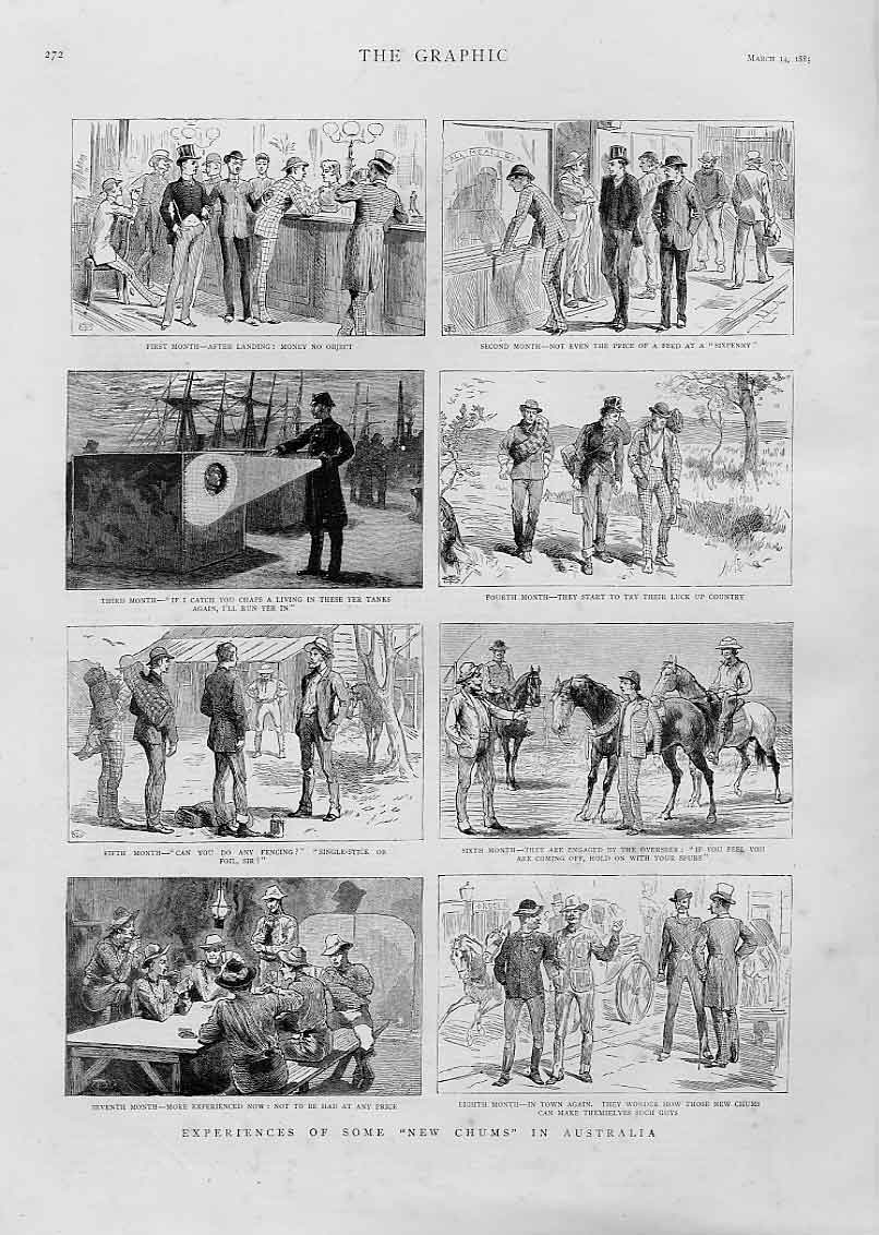 Print New Chums In Australia 1885 72Bbb0 Old Original