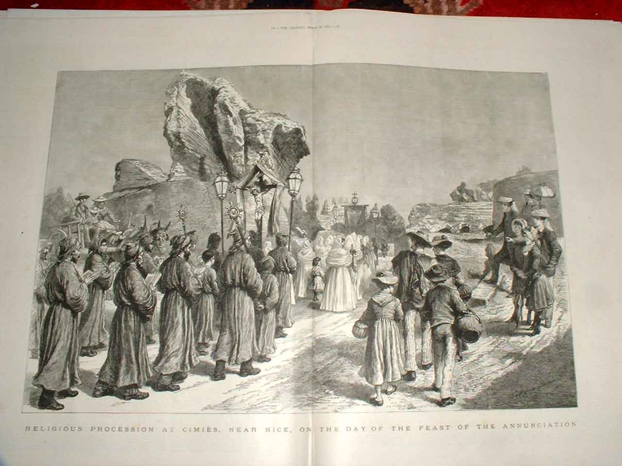 Print Religious Procession At Cimies Nice Feas Annunciation 19Tbbb0 Old Original