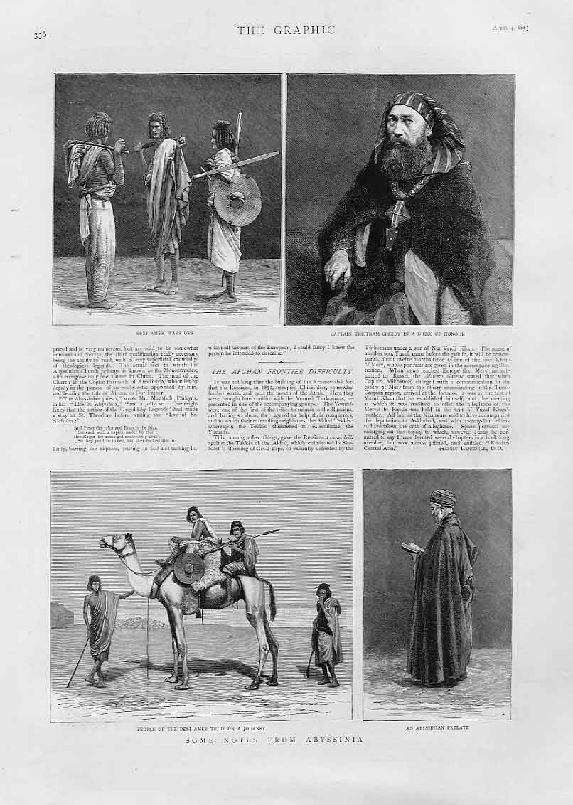 Print Notes From Abyssinia Warriors Prelate 36Bbb0 Old Original