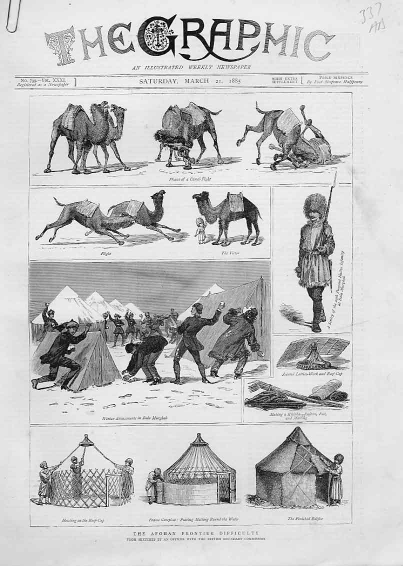 Print Camel Fight Snowballing Hut Construction Afghan 37Abbb0 Old Original