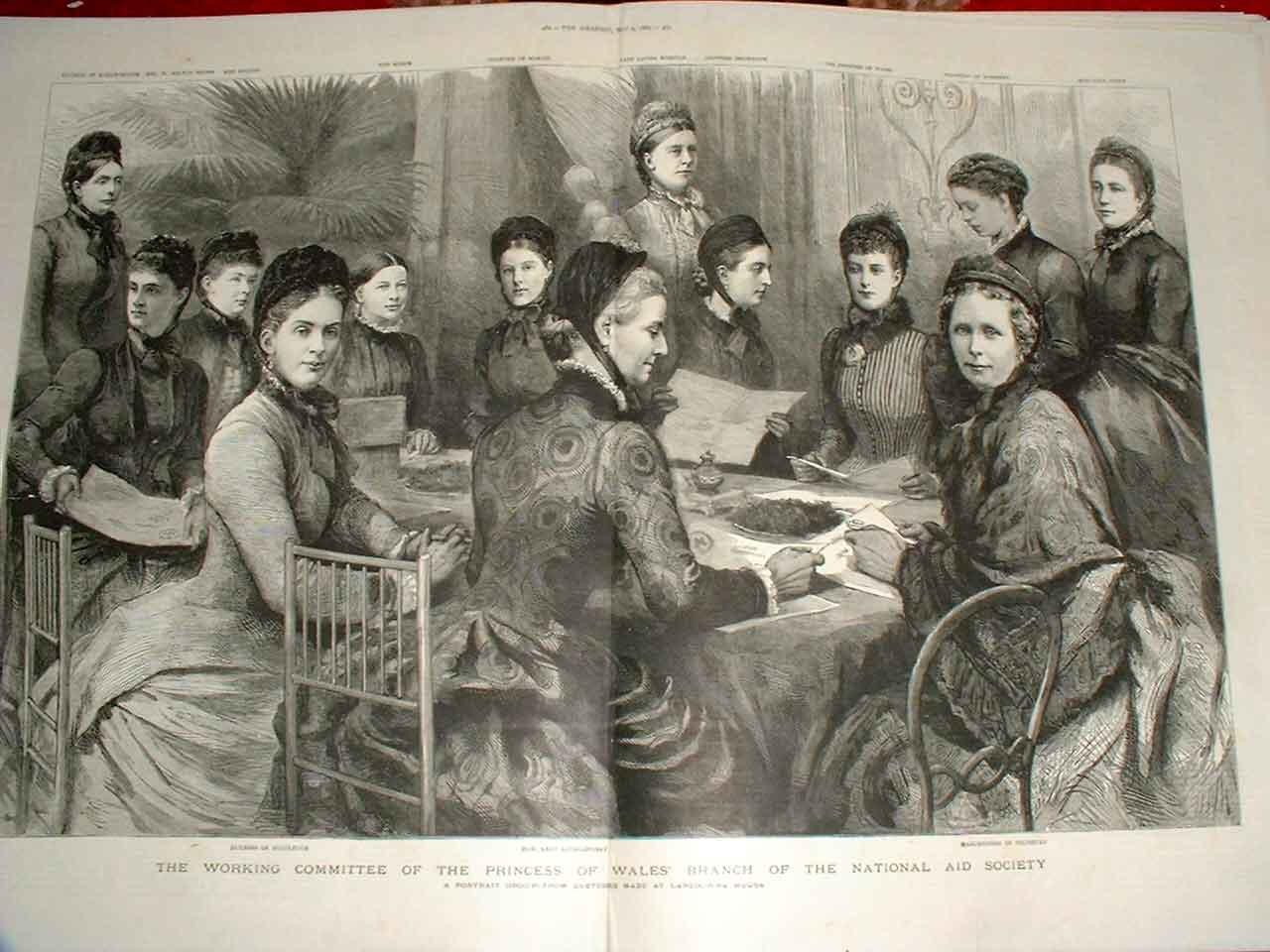 Print Princes Wales Branch National Aid Society 1885 59Tbbb0 Old Original