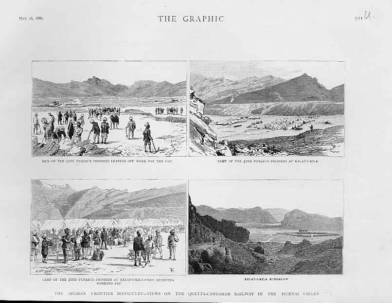 Print Quetta Chandahar Railway In Hurnai Valley Afghanistan 01Ubbb0 Old Original