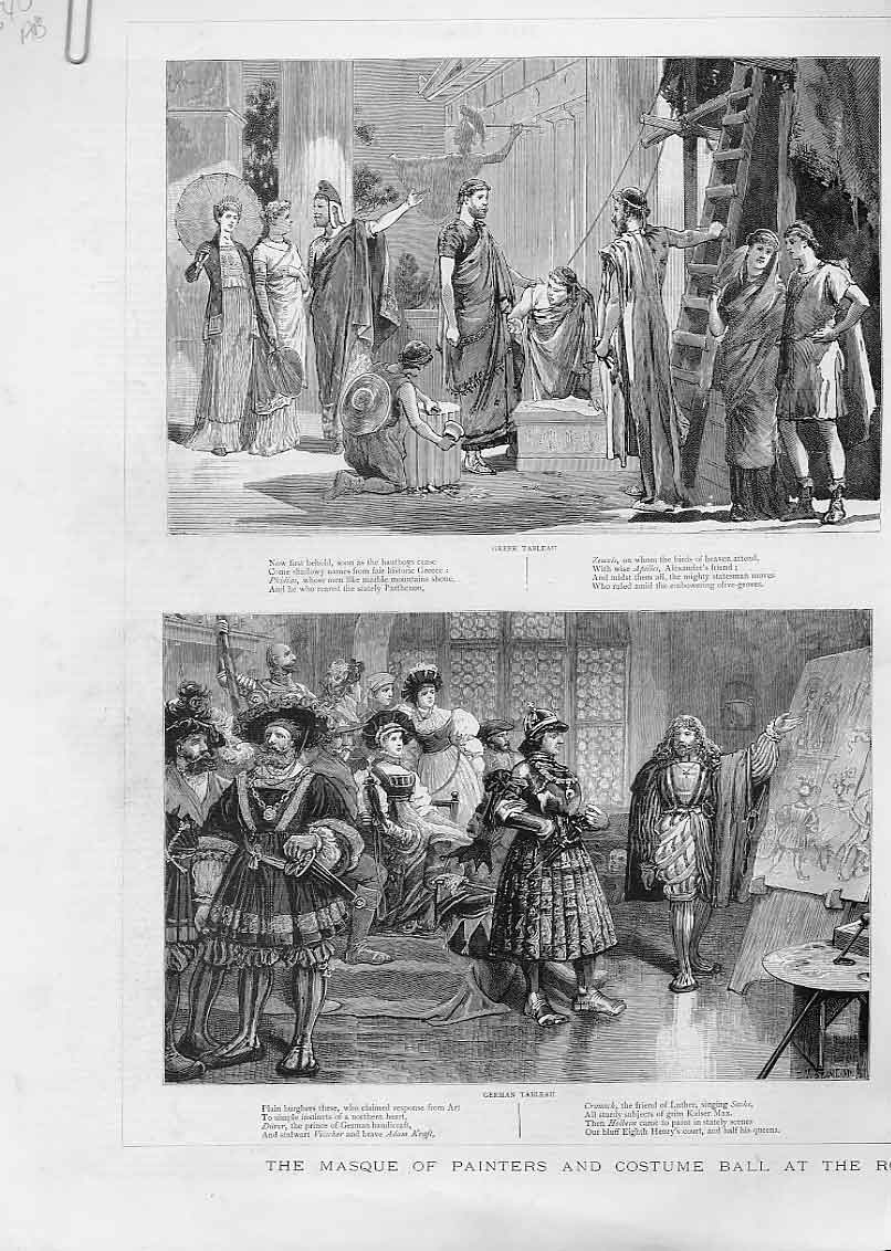 Print Masque Painters & Costume Ball Princes Hall London 40Abbb0 Old Original