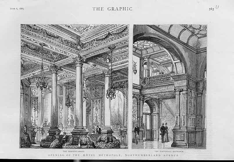 Print Metroploe Hotel Northumberland Ave London 1885 65Ubbb0 Old Original
