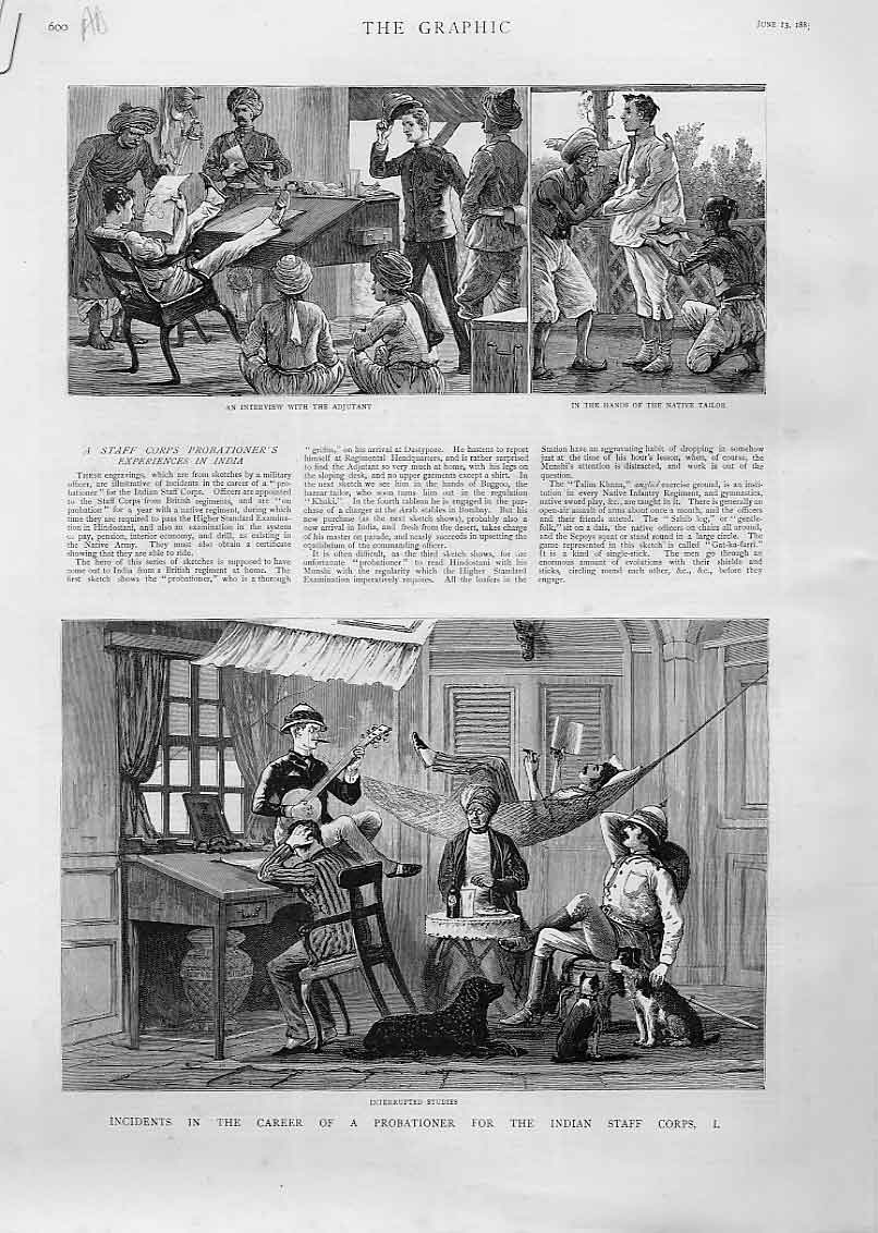 Print Career Probationer Indian Staff Corps 00Abbb0 Old Original