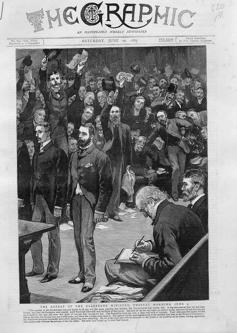 Print Defeat Gladstone Ministry House Commons June 1885 20Abbb0 Old Original