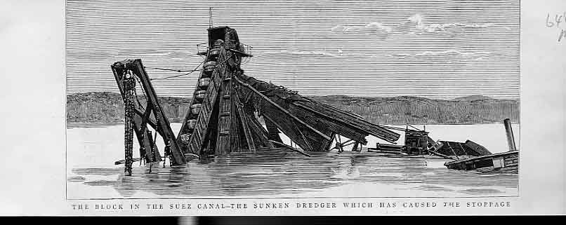 Print Dredger Sunk Suez Canal Caused Stoppage 1885 48Mbbb0 Old Original
