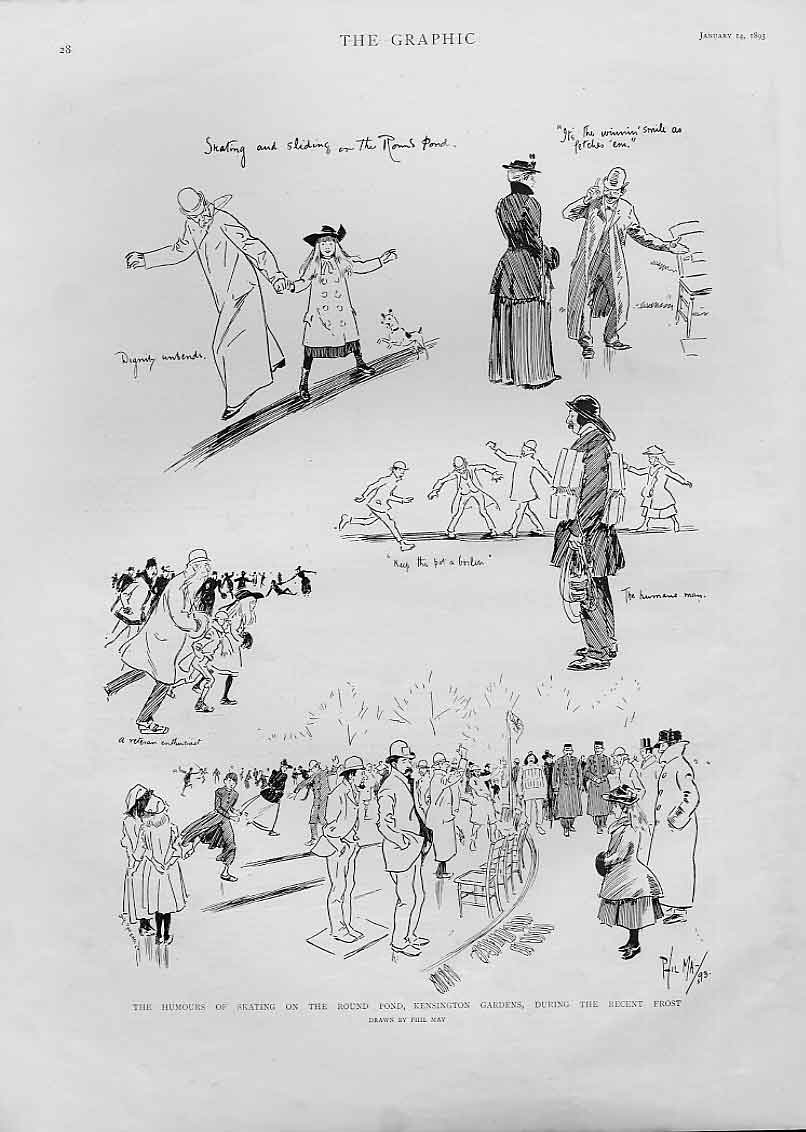Print Humours Ice Skating Kensington Gardens 1893 28Bbb0 Old Original