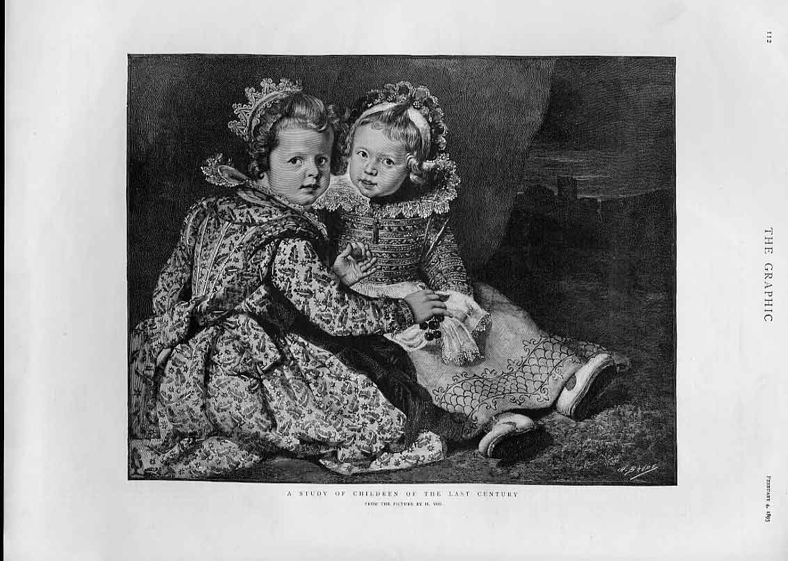 Print Children The 18Th Centary 1893 By Vos 12Bbb0 Old Original