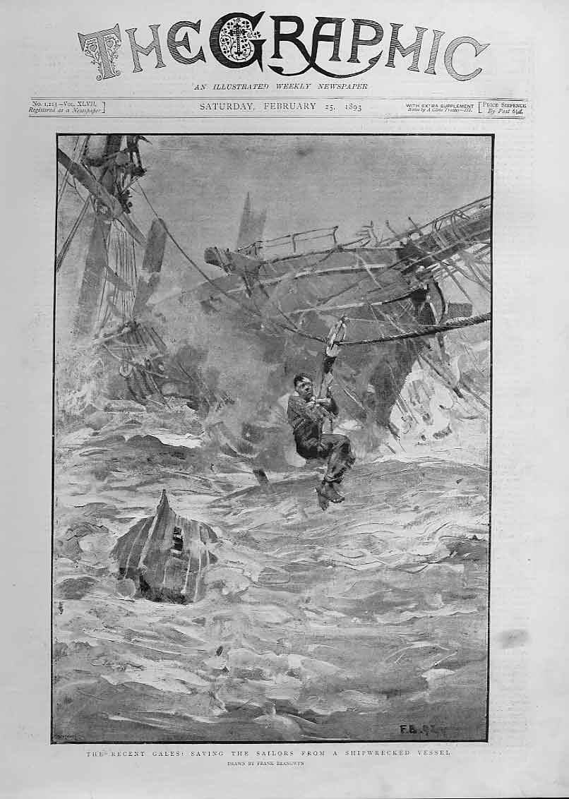 Print Saving Sailors From Ship Wrecked Vessel Fine Art 1893 78Bbb0 Old Original