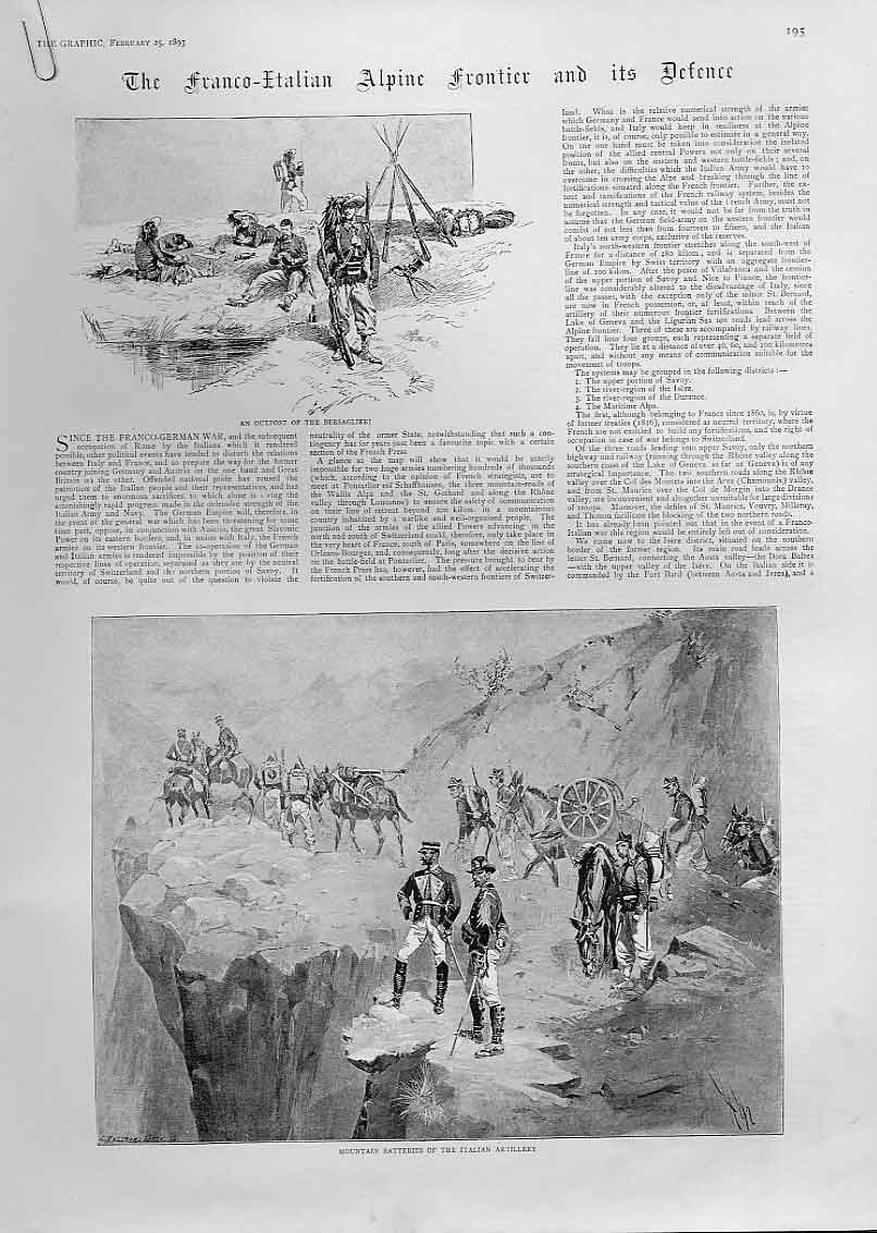 Print France Italy Alpine Frontier Defence 1893 95Abbb0 Old Original