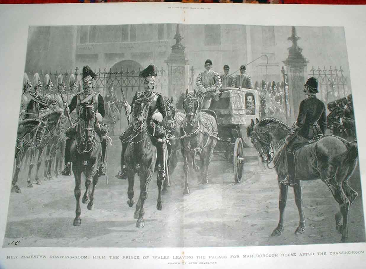 Print Hrh Prince Wales Leaving Buckingham Palace 1 51Tbbb0 Old Original