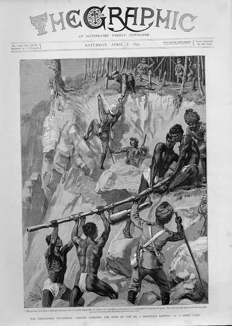 Print Chin Lushai Expedition Coolies Carry Gun Up Cliff China 30Bbb0 Old Original