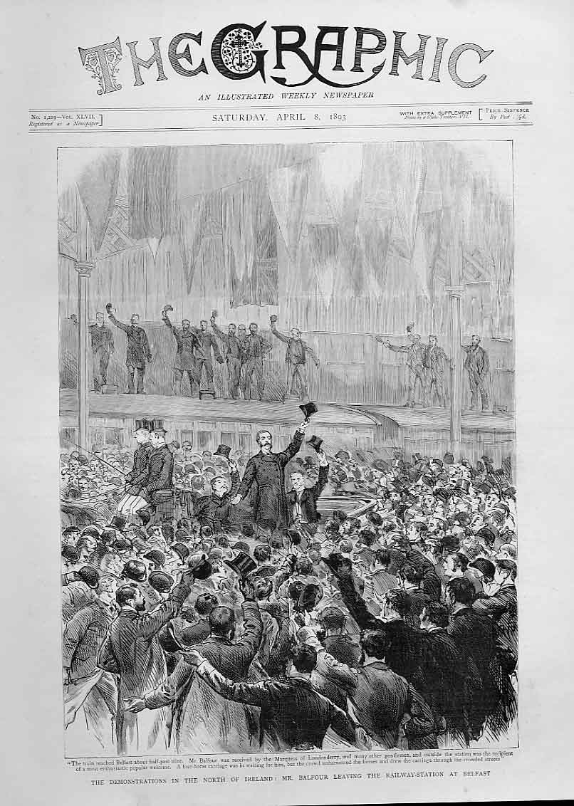 Print Demo North Ireland Balfour Leaves Belfast Station 1893 62Bbb0 Old Original