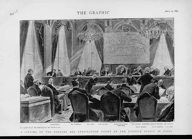 Print Behring Sea Arbritation Court Paris 1893 96Ubbb0 Old Original