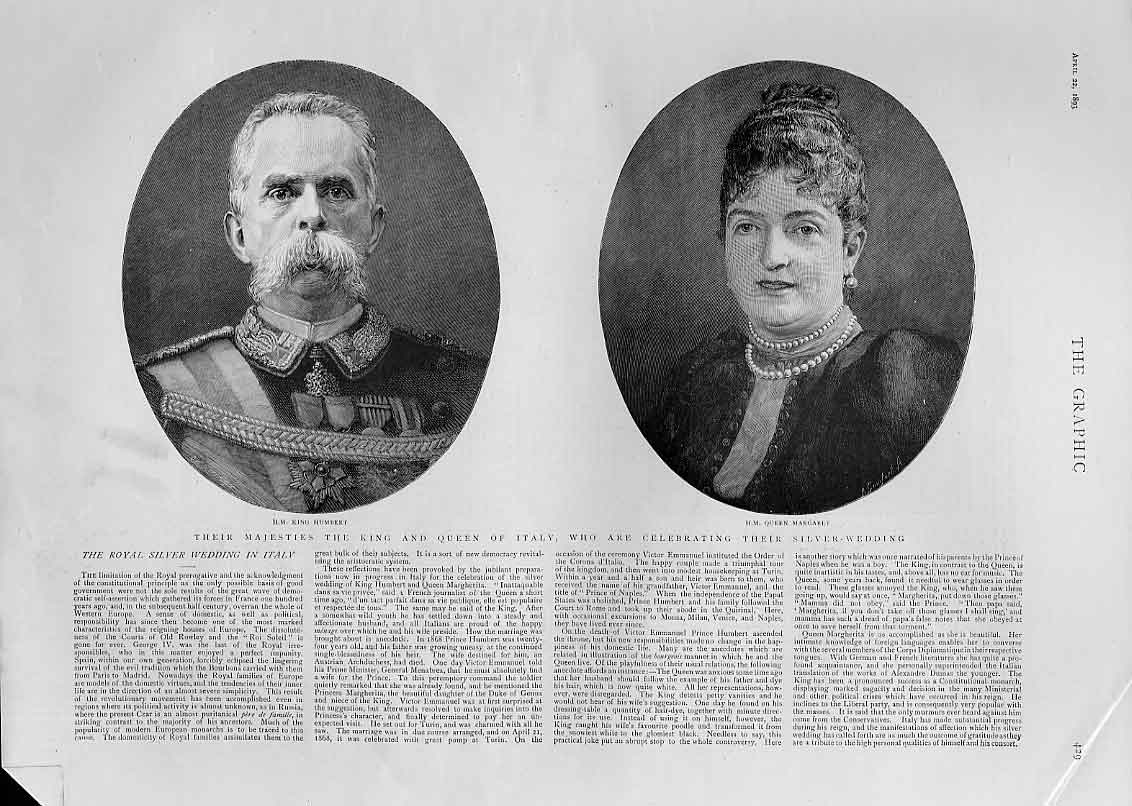 Print Portraits King Queen Italy 1893 Silver Wedding 29Bbb0 Old Original